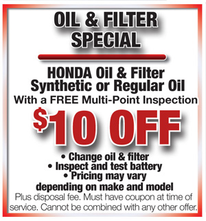 Honda cars of bradenton service coupon save for Honda service oil change